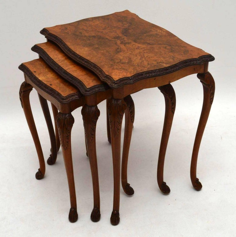 Antique Burr Walnut Nest Of Three Tables For Sale At 1stdibs