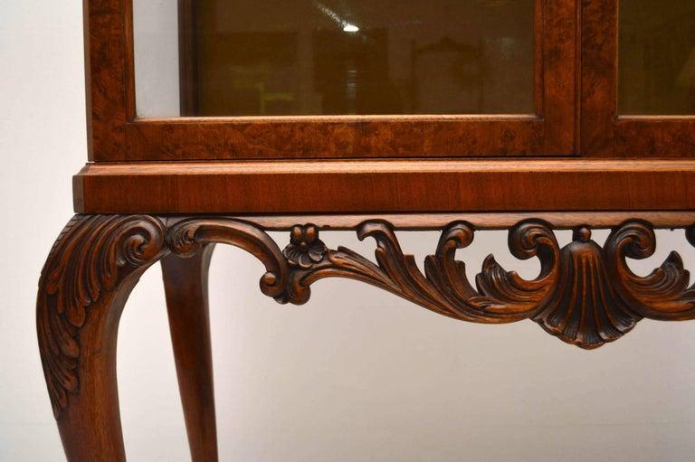 English Antique Burr Walnut Display Cabinet For Sale