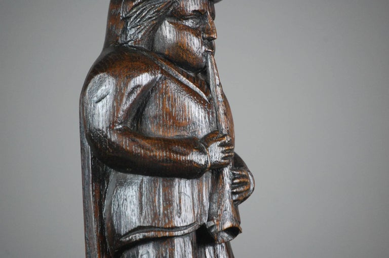 19th Century Naive Oak Carved Musician For Sale 1