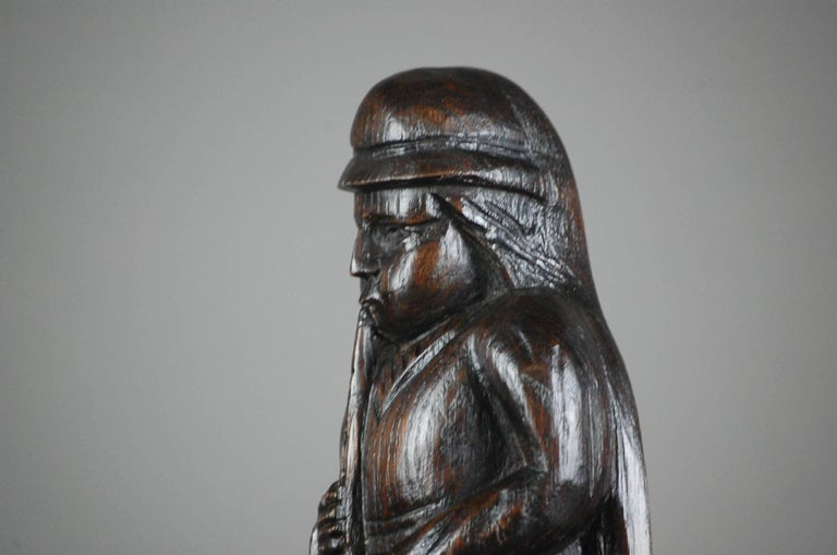 19th Century Naive Oak Carved Musician For Sale 4