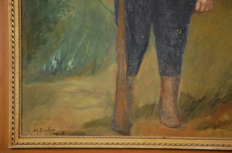 Large Naive Oil on Canvas of Boy Dressed as a Soldier For Sale 2