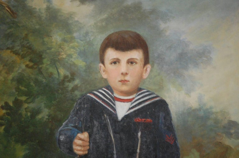 Large Naive Oil on Canvas of Boy Dressed as a Soldier For Sale 3