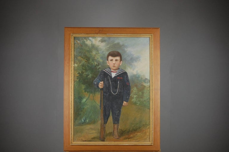 Large Naive Oil on Canvas of Boy Dressed as a Soldier For Sale 4