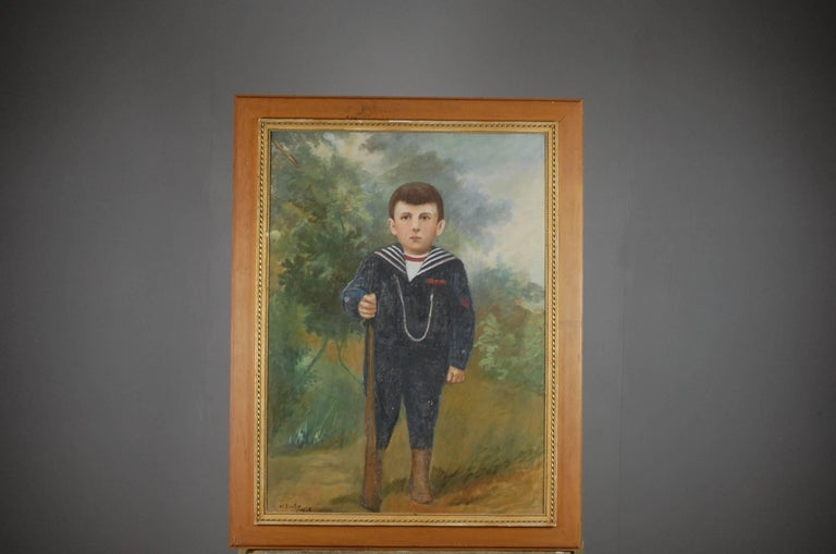 Large Naive Oil on Canvas of Boy Dressed as a Soldier For Sale 5