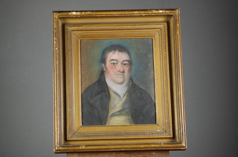 Collection of Three Early 19th Century Naive Family Pastel Portraits For Sale 2