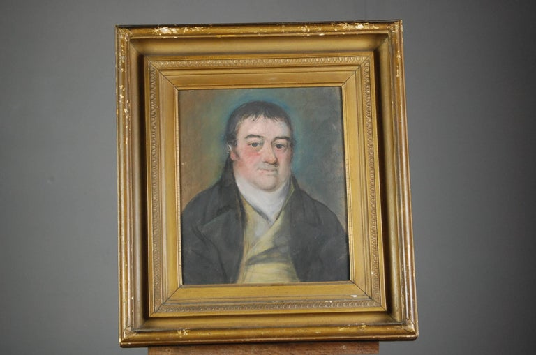 Collection of Three Early 19th Century Naive Family Pastel Portraits For Sale 3