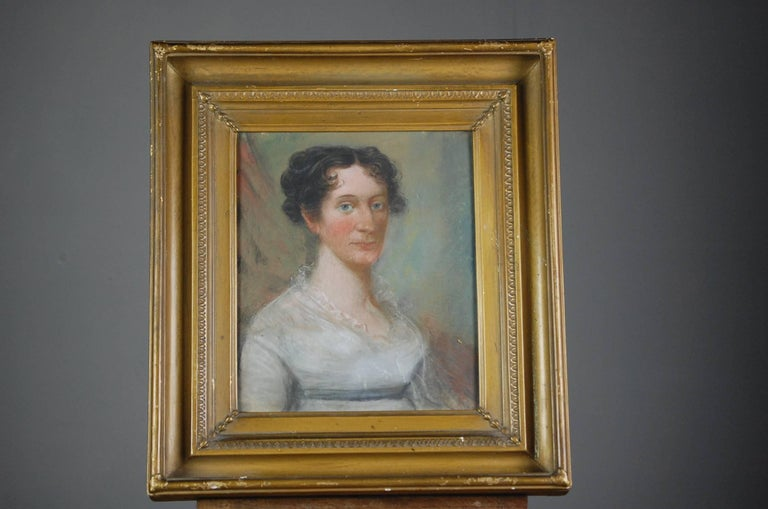 Collection of Three Early 19th Century Naive Family Pastel Portraits For Sale 1