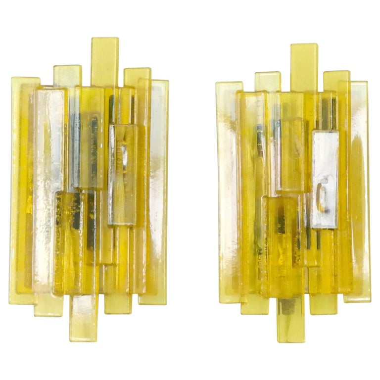 Pair of Danish Midcentury Space Age Yellow Acrylic Wall Sconces by Claus Bolby