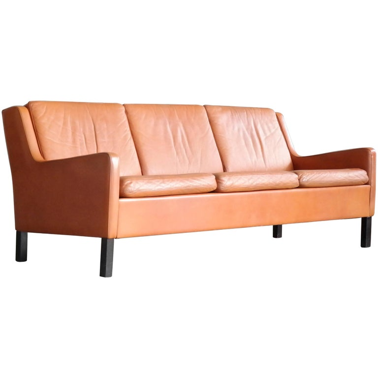 Børge Mogensen Style Three-Seat in Cognac Leather by Georg Thams, Denmark