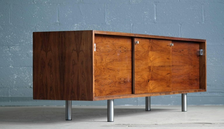 Scandinavian Modern Danish 1960s Low Credenza in Rosewood by Bodil Kjaer for E. Pedersen and Son For Sale
