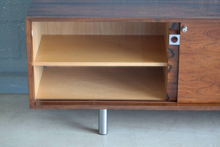 Mid-20th Century Danish 1960s Low Credenza in Rosewood by Bodil Kjaer for E. Pedersen and Son For Sale