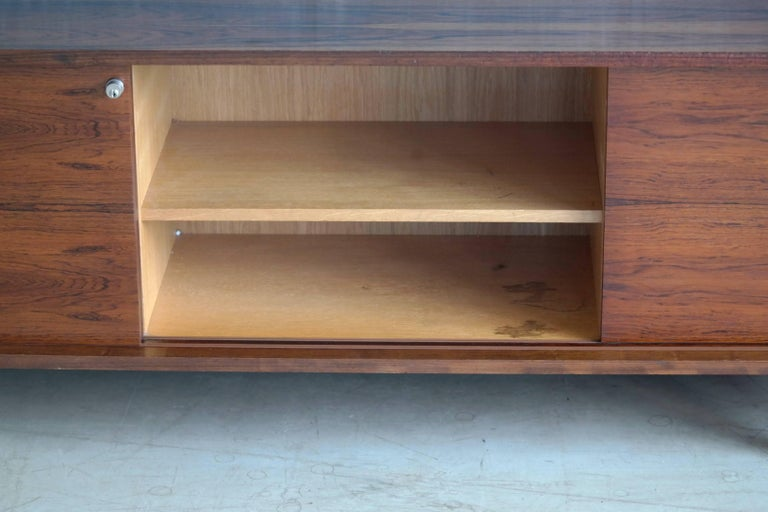 Steel Danish 1960s Low Credenza in Rosewood by Bodil Kjaer for E. Pedersen and Son For Sale