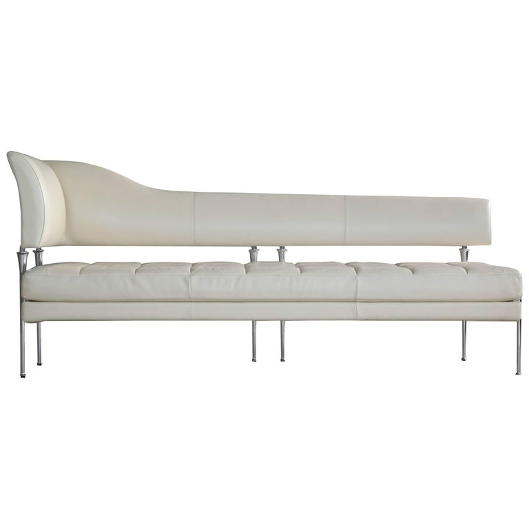 White Leather Model Hydra Chaise Longue by Luca Scacchetti for ...