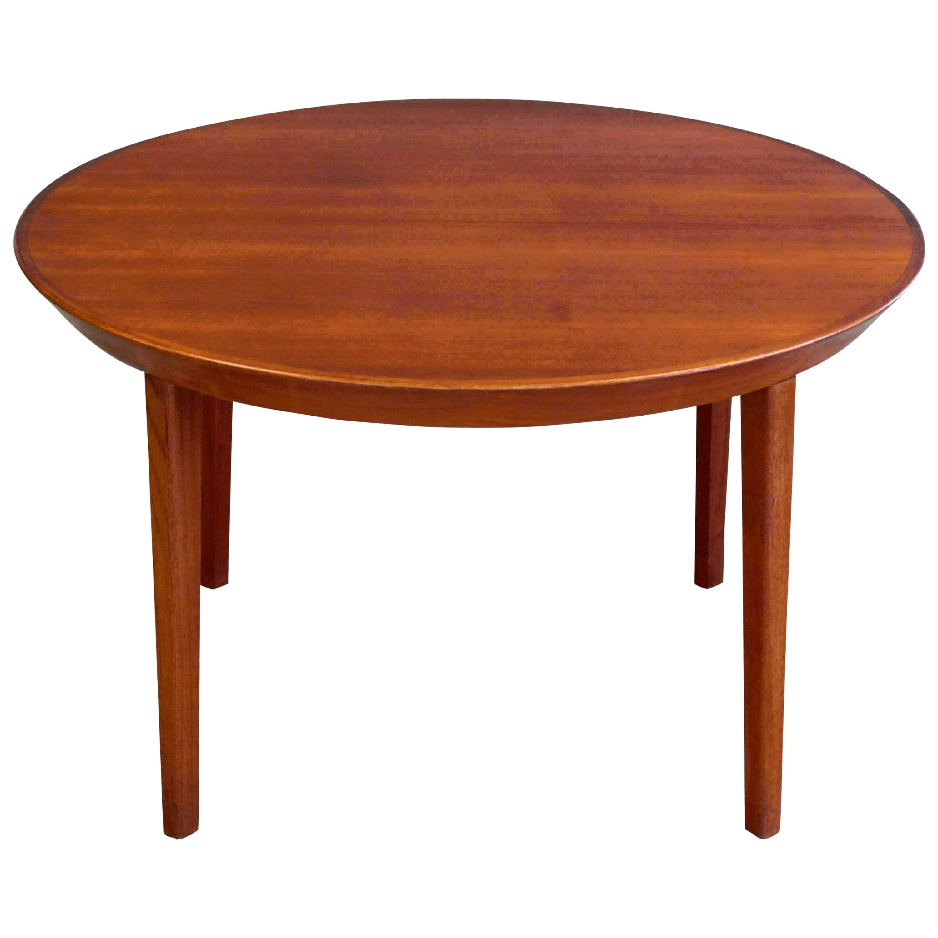 Danish Midcentury Round Extension Dining Table in Teak by Ole Hald for Gudme
