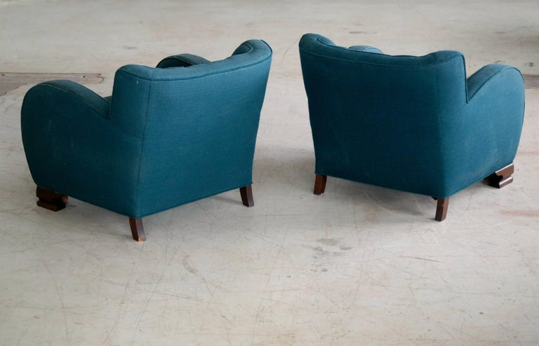 Mahogany Pair of Danish Art Deco Club Chairs, 1930s, 1920s For Sale