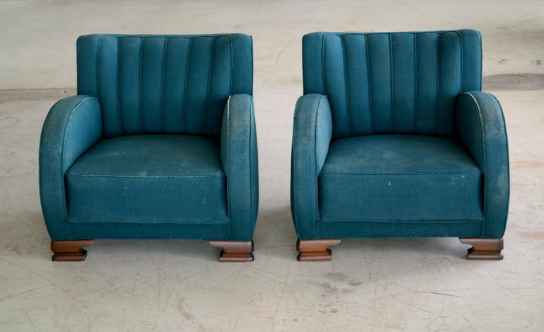Pair of Danish Art Deco Club Chairs, 1930s, 1920s In Good Condition For Sale In Bridgeport, CT