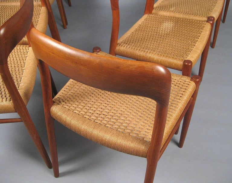 Mid-20th Century Niels O. Møller Set of Eight Dining Chairs Model No. 75 in Teak and Rush Seat For Sale