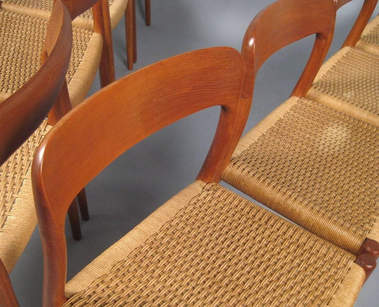 Papercord Niels O. Møller Set of Eight Dining Chairs Model No. 75 in Teak and Rush Seat For Sale