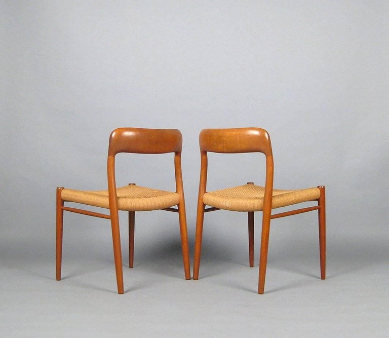 Danish Niels O. Møller Set of Eight Dining Chairs Model No. 75 in Teak and Rush Seat For Sale