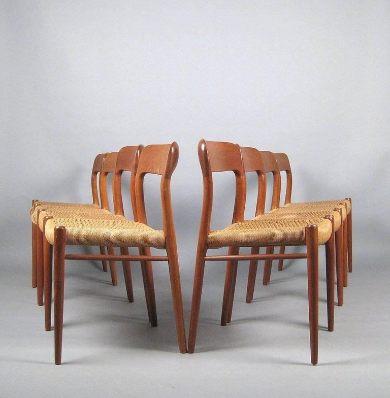 Scandinavian Modern Niels O. Møller Set of Eight Dining Chairs Model No. 75 in Teak and Rush Seat For Sale