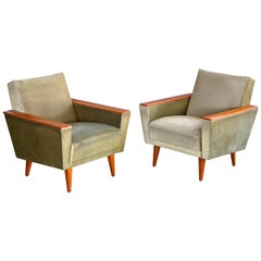 Pair of Danish Midcentury Lounge or Club Chairs Attributed to Illum Wikkelso