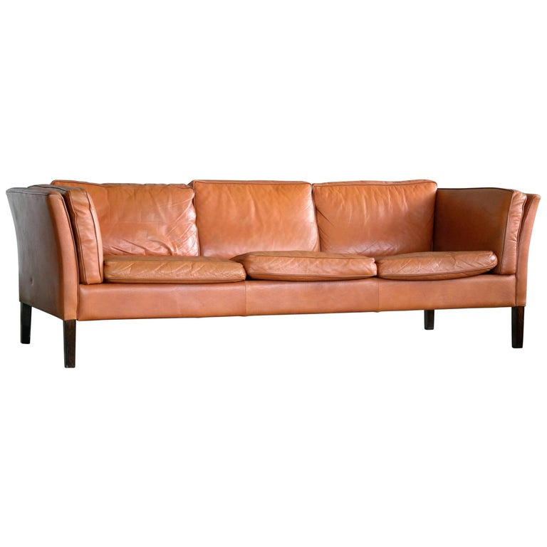 Børge Mogensen Style Danish Three-Seat Leather Sofa in Patinated Cognac Leather