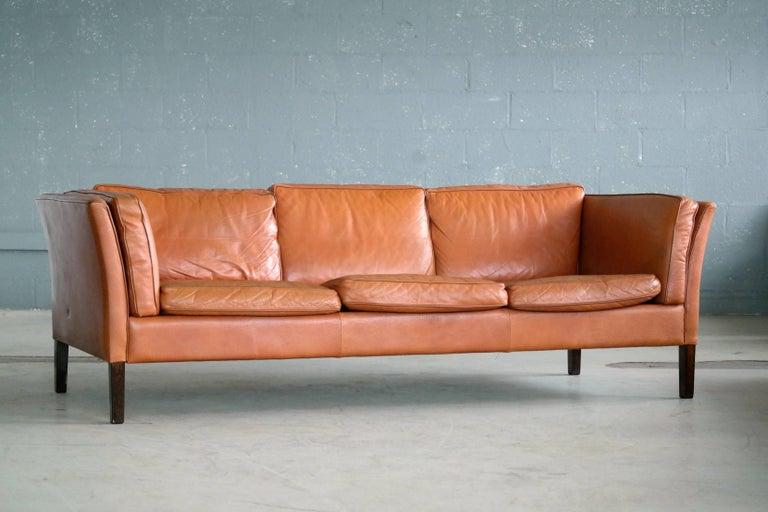 Mid Century Modern Børge Mogensen Style Danish Three Seat Leather Sofa In Patinated Cognac