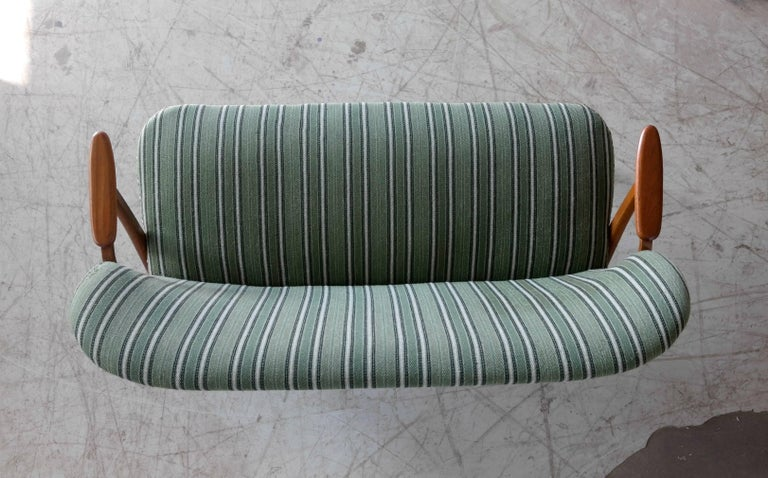 Danish Midcentury Sofa with Teak Armrests Attributed to Arne Hovmand Olsen For Sale 2