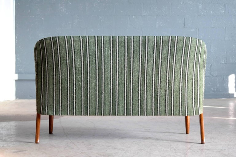 Danish Midcentury Sofa with Teak Armrests Attributed to Arne Hovmand Olsen For Sale 3