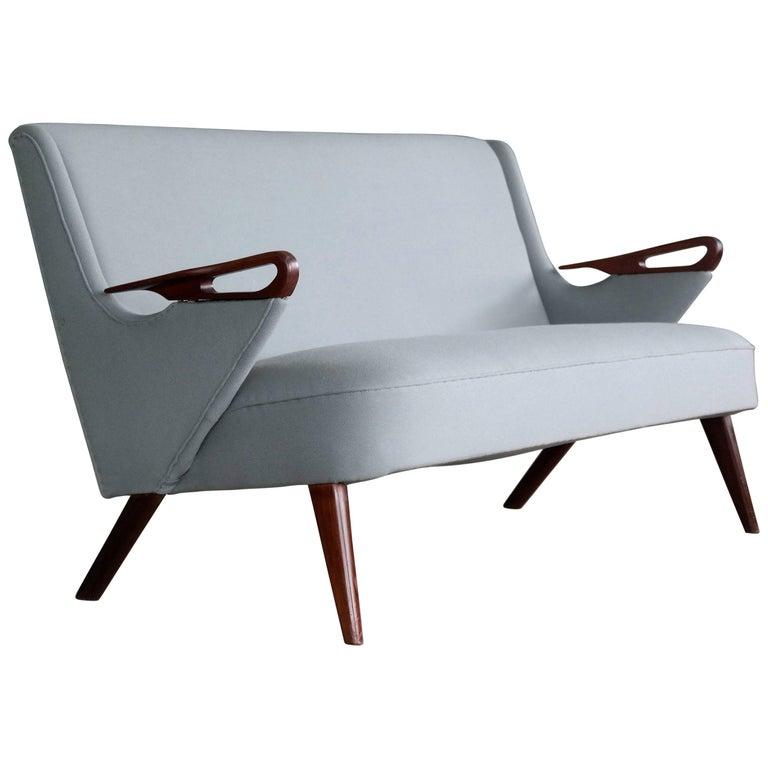 Danish 1950s 2 1/2 Seat Sofa with Teak Armrests by Chresten Findahl Brodersen For Sale