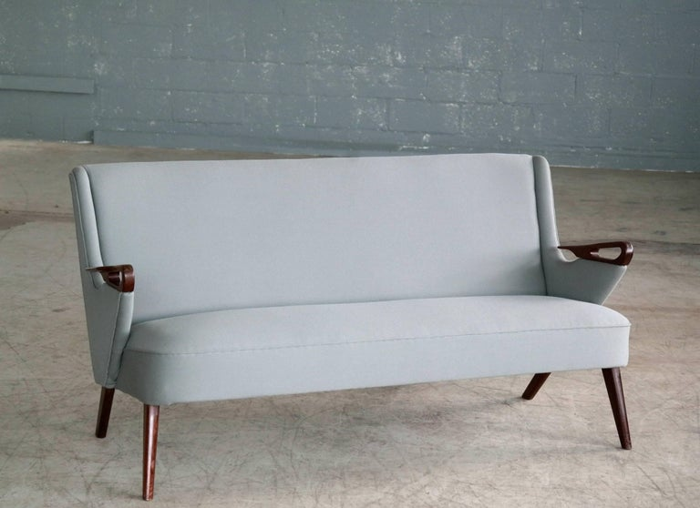 Very rare and simply stunning 1950s sofa designed in the early 1950s by Chresten Findahl Brodersen and manufactured by Findahl Møbelfabrik. While stunning examples of this design have been see infrequently in the Danish furniture market it was only