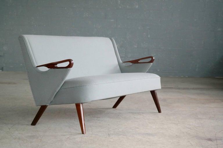 Scandinavian Modern Danish 1950s 2 1/2 Seat Sofa with Teak Armrests by Chresten Findahl Brodersen For Sale