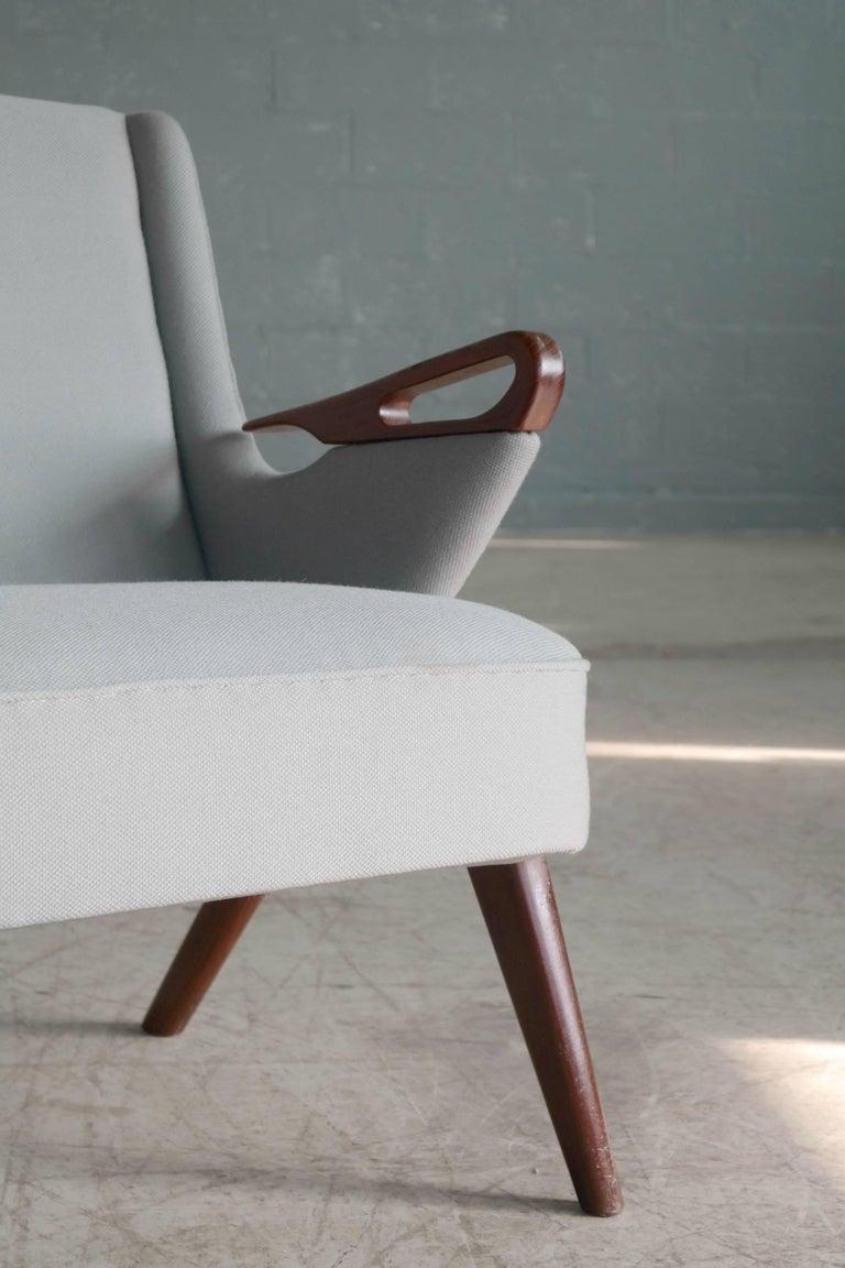 Danish 1950s 2 1/2 Seat Sofa with Teak Armrests by Chresten Findahl Brodersen In Excellent Condition For Sale In Bridgeport, CT