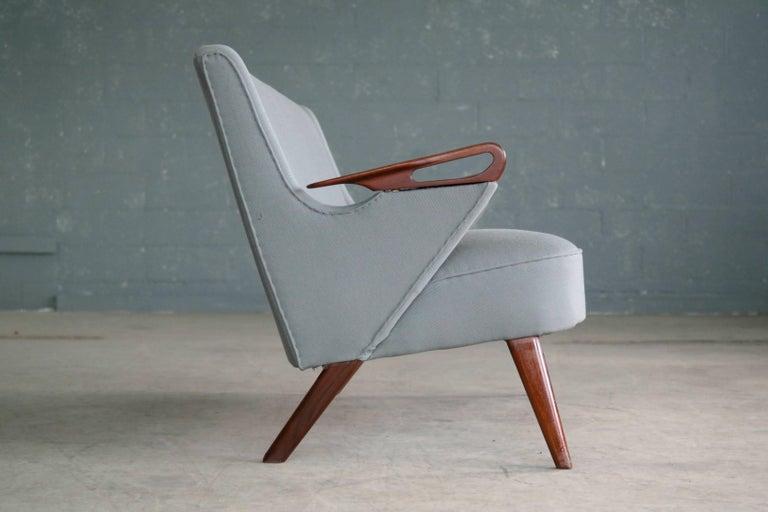 Wool Danish 1950s 2 1/2 Seat Sofa with Teak Armrests by Chresten Findahl Brodersen For Sale