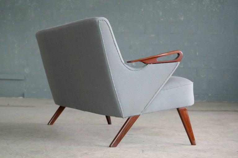 Danish 1950s 2 1/2 Seat Sofa with Teak Armrests by Chresten Findahl Brodersen For Sale 1