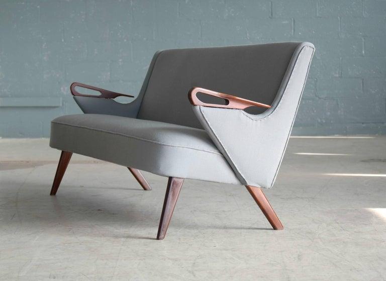 Danish 1950s 2 1/2 Seat Sofa with Teak Armrests by Chresten Findahl Brodersen For Sale 2