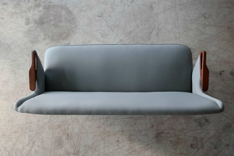 Danish 1950s 2 1/2 Seat Sofa with Teak Armrests by Chresten Findahl Brodersen For Sale 3