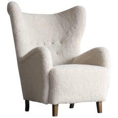 Flemming Lassen High Back Lounge Chair in Lambs Wool Danish, Midcentury