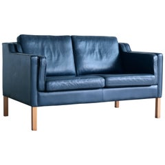 Børge Mogensen Model 2212 Style Loveseat in Dark Blue Leather by Stouby