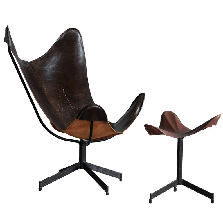 1960s Butterfly Sling Chair and Ottoman in Saddle Leather by William Katavolos For Sale