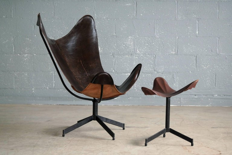 Mid-Century Modern 1960s Butterfly Sling Chair and Ottoman in Saddle Leather by William Katavolos For Sale