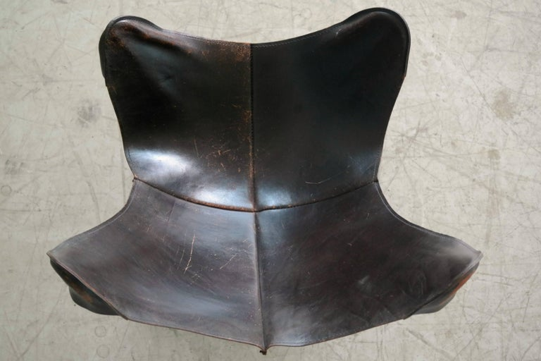 1960s Butterfly Sling Chair and Ottoman in Saddle Leather by William Katavolos For Sale 2