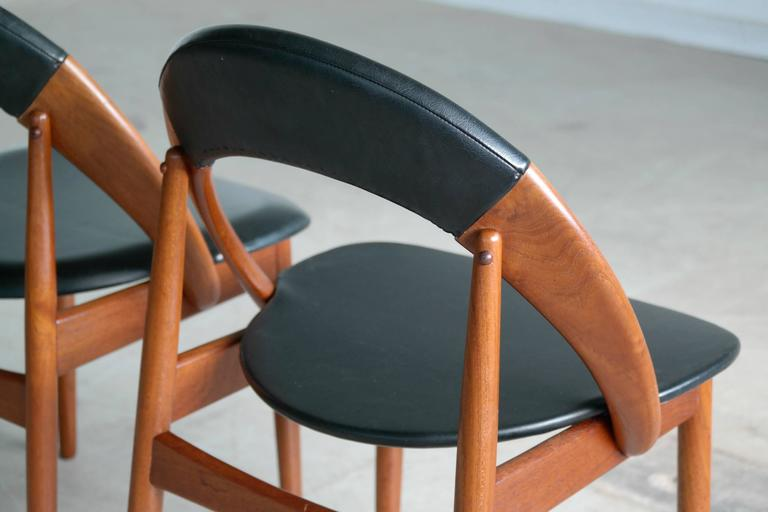Very Rare Set of Six Dining Chairs by Arne Hovmand Olsen For Sale 1