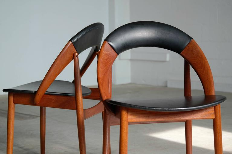 Very Rare Set of Six Dining Chairs by Arne Hovmand Olsen For Sale 2
