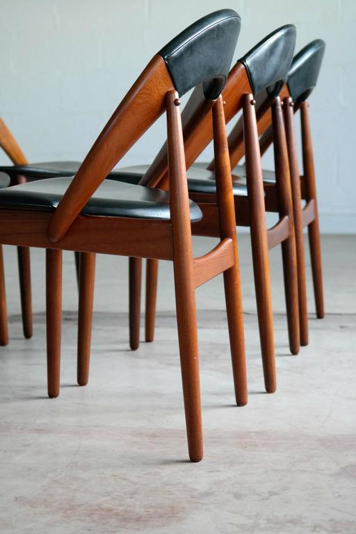 Teak Very Rare Set of Six Dining Chairs by Arne Hovmand Olsen For Sale