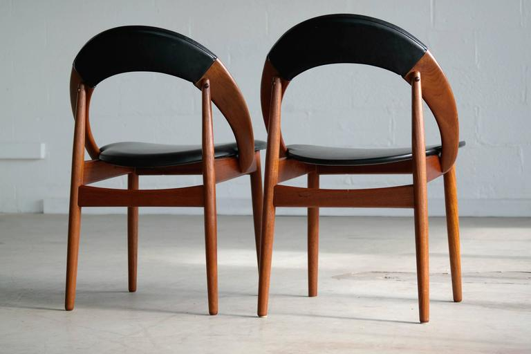 Danish Very Rare Set of Six Dining Chairs by Arne Hovmand Olsen For Sale