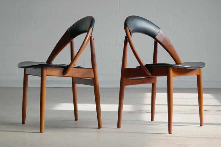 Mid-Century Modern Very Rare Set of Six Dining Chairs by Arne Hovmand Olsen For Sale