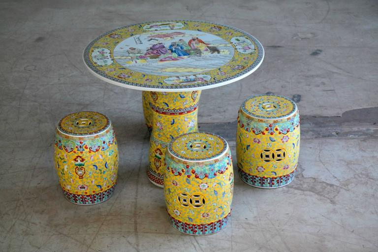 Garden Ceramic Porcelain Chinese Table With Stools For
