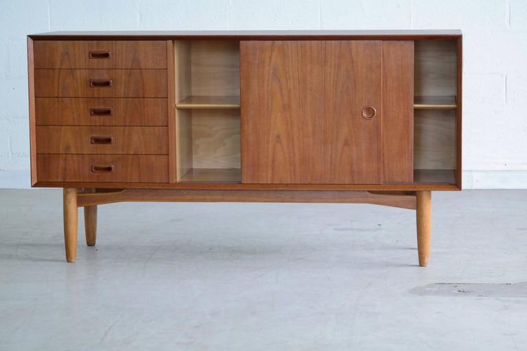Mid-Century Modern Omann Jun Mid Century Low Sideboard or Credenza in Teak  For Sale