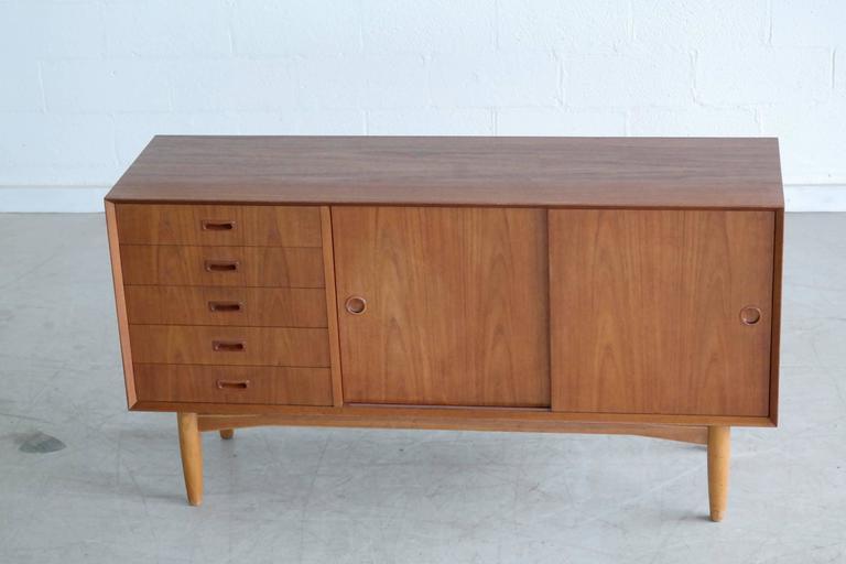 Oak Omann Jun Mid Century Low Sideboard or Credenza in Teak  For Sale